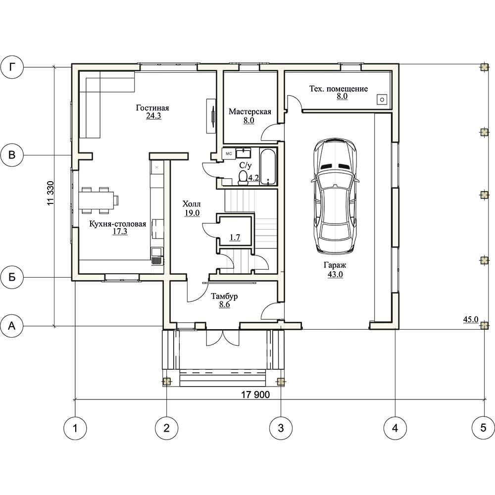 Проект двухэтажного дома Римини