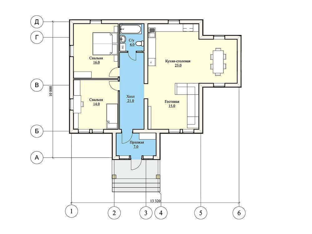 """Проект одноэтажного дома """"Норфолк"""" (90 кв.м.)"""